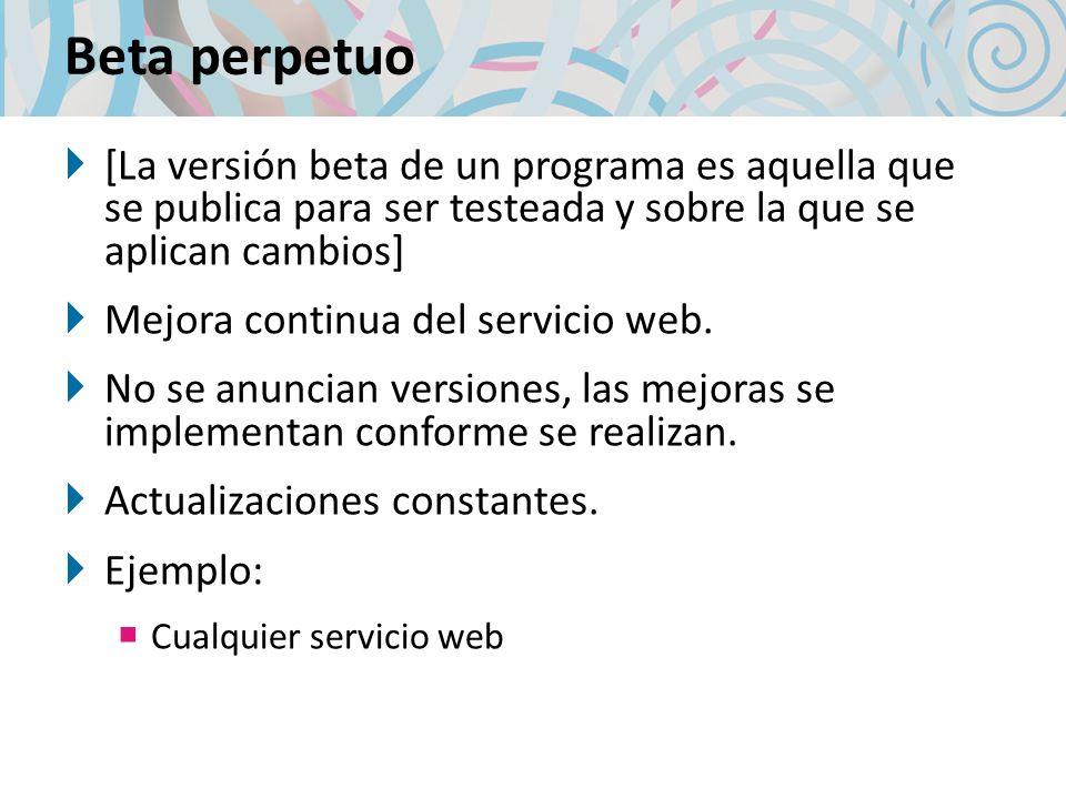 Beta perpetuo [La versión beta de un programa es aquella que se publica para ser testeada y sobre la que se aplican cambios]